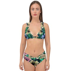 Hibiscus Flower Plant Tropical Double Strap Halter Bikini Set by Simbadda