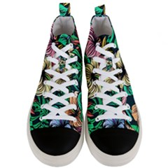 Hibiscus Flower Plant Tropical Men s Mid Top Canvas Sneakers