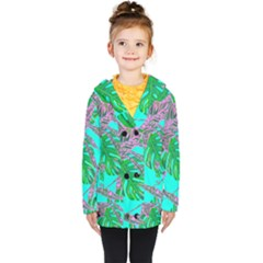 Painting Oil Leaves Reason Pattern Kids  Double Breasted Button Coat