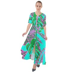 Painting Oil Leaves Reason Pattern Waist Tie Boho Maxi Dress