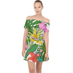 Tropical Greens Leaves Monstera Off Shoulder Chiffon Dress