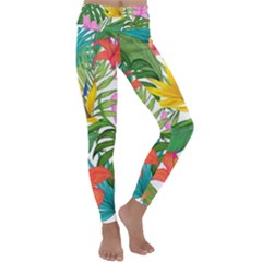 Tropical Greens Leaves Monstera Kids  Lightweight Velour Classic Yoga Leggings by Simbadda