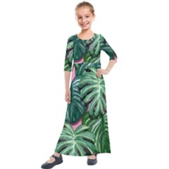 Painting Leaves Tropical Jungle Kids  Quarter Sleeve Maxi Dress by Simbadda