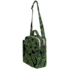 Leaves Black Background Pattern Crossbody Day Bag by Simbadda