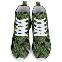 Leaves Black Background Pattern Women s Lightweight High Top Sneakers by Simbadda