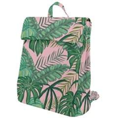 Tropical Greens Leaves Design Flap Top Backpack by Simbadda