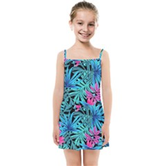 Leaves Picture Tropical Plant Kids  Summer Sun Dress by Simbadda