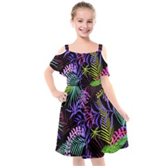 Leaves Nature Design Plant Kids  Cut Out Shoulders Chiffon Dress by Simbadda