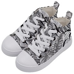 Drawing Leaves Nature Picture Kids  Mid Top Canvas Sneakers by Simbadda