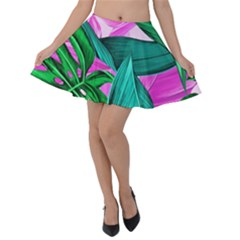 Tropical Greens Monstera Summer Velvet Skater Skirt by Simbadda