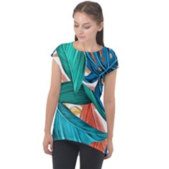 Leaves Tropical Summer Exotic Cap Sleeve High Low Top by Simbadda
