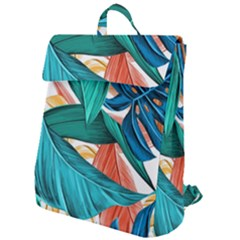 Leaves Tropical Summer Exotic Flap Top Backpack by Simbadda