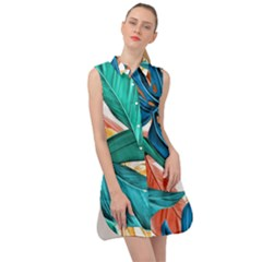 Leaves Tropical Summer Exotic Sleeveless Shirt Dress by Simbadda