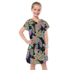 Autumn Pattern Dried Leaves Kids  Drop Waist Dress by Simbadda