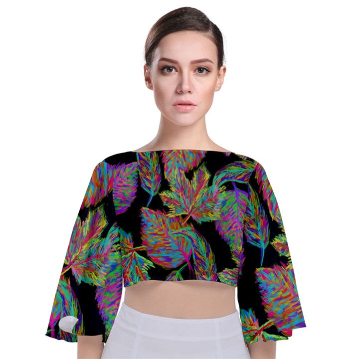 Autumn Pattern Dried Leaves Tie Back Butterfly Sleeve Chiffon Top