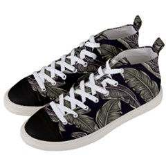Jungle Leaves Tropical Pattern Men s Mid Top Canvas Sneakers by Simbadda