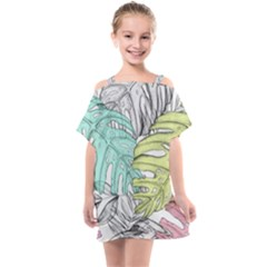 Leaves Tropical Plant Summer Kids  One Piece Chiffon Dress by Simbadda