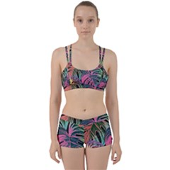 Leaves Tropical Jungle Pattern Perfect Fit Gym Set by Simbadda