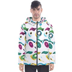 Distorted Circles On A White Background                 Men s Hooded Puffer Jacket by LalyLauraFLM