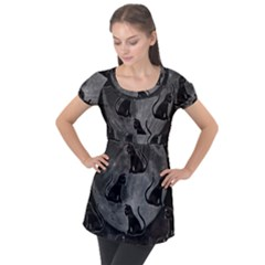 Black Cat Full Moon Puff Sleeve Tunic Top by bloomingvinedesign