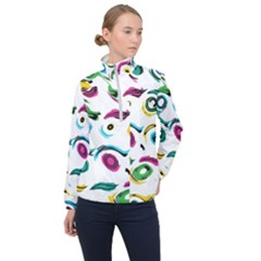 Distorted Circles On A White Background                 Women Half Zip Windbreaker
