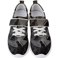 Black Cat Full Moon Men s Velcro Strap Shoes by bloomingvinedesign