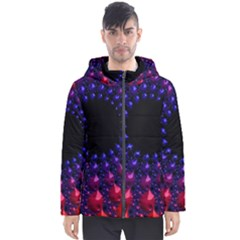 Red Purple 3d Fractals                  Men s Hooded Puffer Jacket by LalyLauraFLM