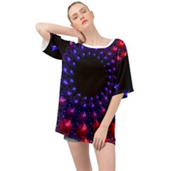 Red Purple 3d Fractals                Oversized Chiffon Top