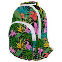Tropical Leaves                Rounded Multi Pocket Backpack