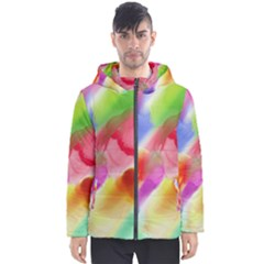 Colorful Watercolors                    Men s Hooded Puffer Jacket by LalyLauraFLM