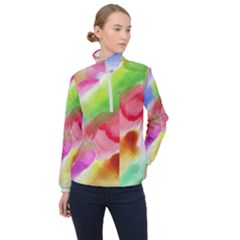 Colorful Watercolors                    Women Half Zip Windbreaker