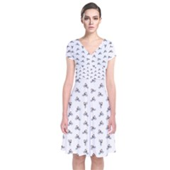 Cycling Motif Design Pattern Short Sleeve Front Wrap Dress