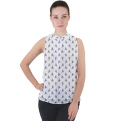 Cycling Motif Design Pattern Mock Neck Chiffon Sleeveless Top