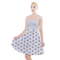 Cycling Motif Design Pattern Halter Party Swing Dress