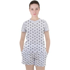 Cycling Motif Design Pattern Women s Tee And Shorts Set