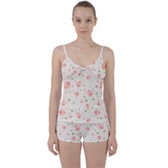 Pink Flowers Pattern Spring Nature Tie Front Two Piece Tankini