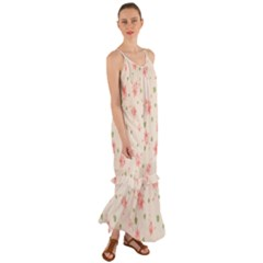 Pink Flowers Pattern Spring Nature Cami Maxi Ruffle Chiffon Dress