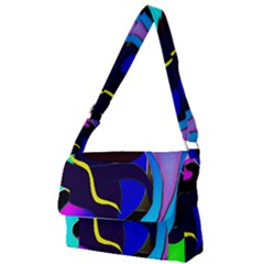 Curvy Collage Full Print Messenger Bag by bloomingvinedesign
