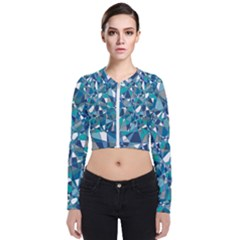 Blue Abstract Long Sleeve Zip Up Bomber Jacket by TimelessFashion