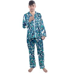 Blue Abstract Men s Satin Pajamas Long Pants Set by TimelessFashion