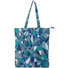 Blue Abstract Double Zip Up Tote Bag
