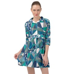 Blue Abstract Mini Skater Shirt Dress by TimelessFashion