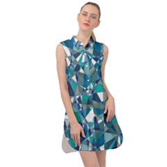 Blue Abstract Sleeveless Shirt Dress by TimelessFashion