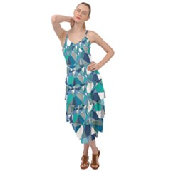 Blue Abstract Layered Bottom Dress by TimelessFashion