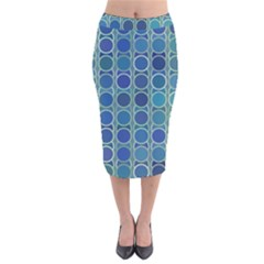 Blue Circles Velvet Midi Pencil Skirt by TimelessFashion