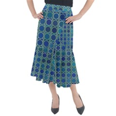 Blue Circles Midi Mermaid Skirt