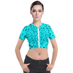 Blue Garden Short Sleeve Cropped Jacket by TimelessFashion