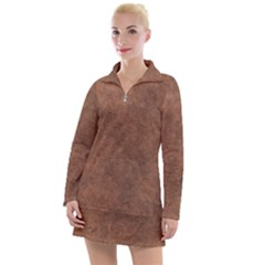Brown Effect Women s Long Sleeve Casual Dress by TimelessFashion