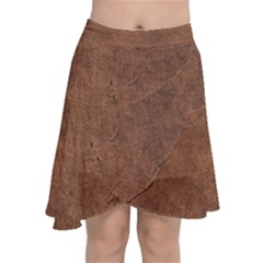 Brown Effect Chiffon Wrap Front Skirt by TimelessFashion