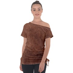 Brown Effect Tie Up Tee by TimelessFashion